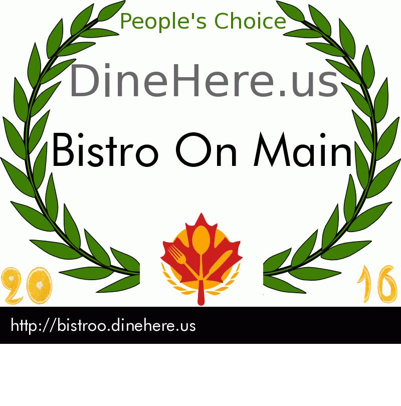 Bistro On Main DineHere.us 2016 Award Winner